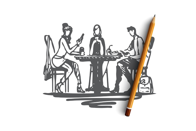 Lunch, food, dinner, meal, people concept. hand drawn business people at lunch concept sketch.   illustration.