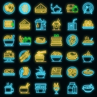 Lunch icons set vector neon