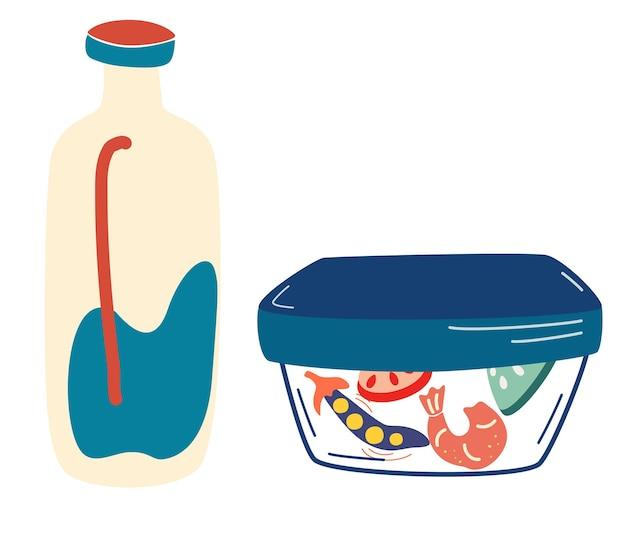 용기에 담긴 점심 도시락에 담긴 음식과 우유 한 병 플라스틱 용기