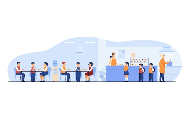 Lunch in school cafeteria concept. teen boys and girls eating in school canteen or cafe, standing at counter for buying food. for catering, buffet, school break, facilities topics