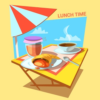 Lunch time cartoon with croissant bakery jam and coffee cup on the table retro style
