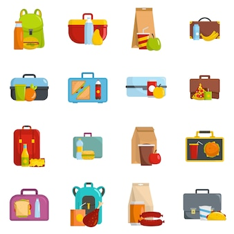 Lunchbox food icons set vector isolated