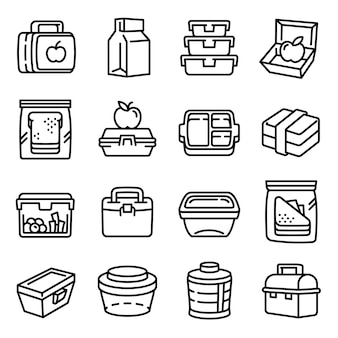 Lunchbox icons set, outline style
