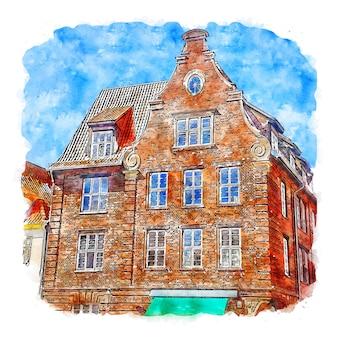 Luneburg 독일 수채화 스케치 손으로 그린 그림