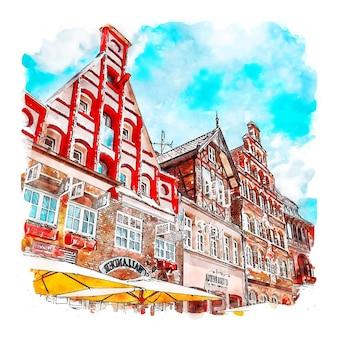 Luneburg germany watercolor sketch hand drawn illustration
