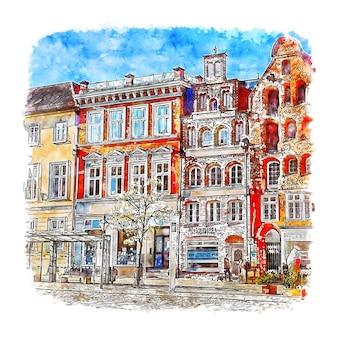 Люнебург германия акварельный эскиз рисованной иллюстрации