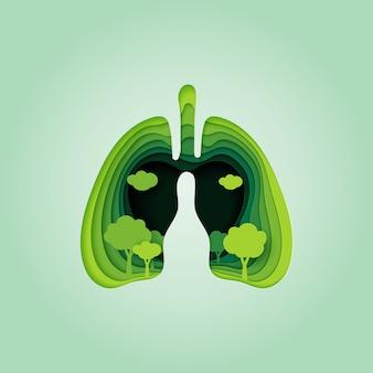 폐와 자연 개념 종이 아트 스타일의 심장.