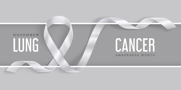 Lung cancer awareness horizontal concept with white ribbon on a white frame with shadow. symbol of world lung cancer awareness month in november.