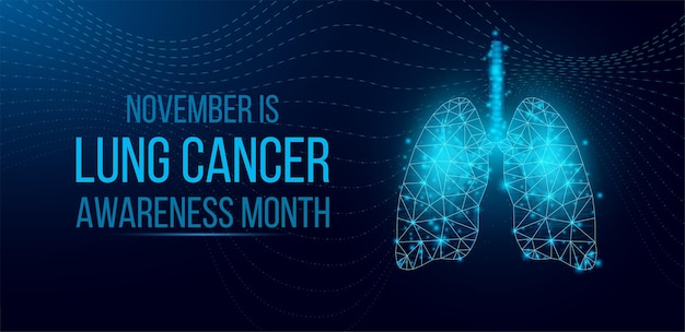 Lung cancer awareness month concept. banner template with glowing low poly wireframe lungs. isolated on dark background. vector illustration.