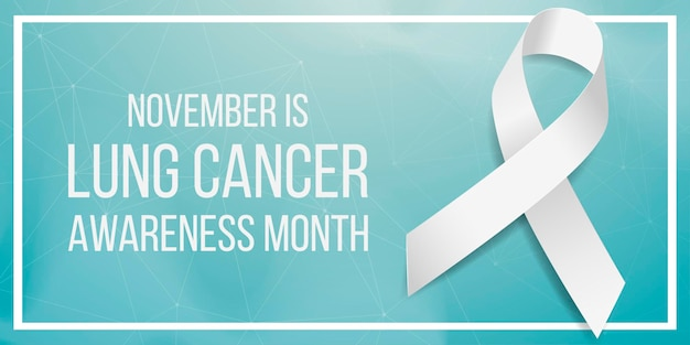 Lung cancer awareness month concept. banner template with white ribbon awareness. isolated on dark background. vector illustration.