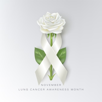 Lung cancer awareness month concept with white ribbon and rose. lung cancer awareness month november