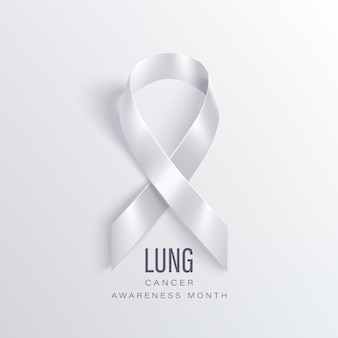 Lung cancer awareness month november. lung cancer awareness month banner with white ribbon