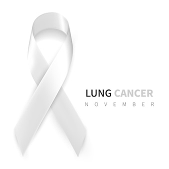 Lung cancer awareness month. realistic white ribbon symbol.