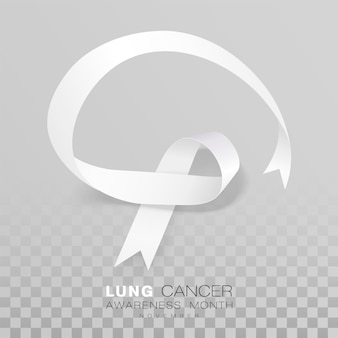 Lung cancer awareness month white color ribbon isolated on transparent background