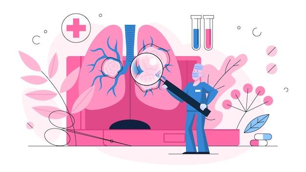 폐암 징후. 큰 폐에 서있는 의사. 건강과 치료에 대한 아이디어. 의사는기도를 확인합니다. 호흡기 질환. 건강 관리에 대한 아이디어. 삽화