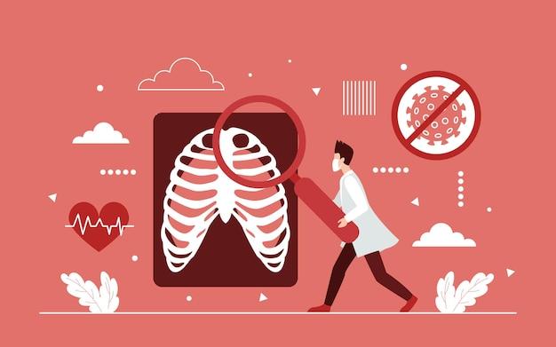 肺の健康研究、病院の放射線コロナウイルスの結果
