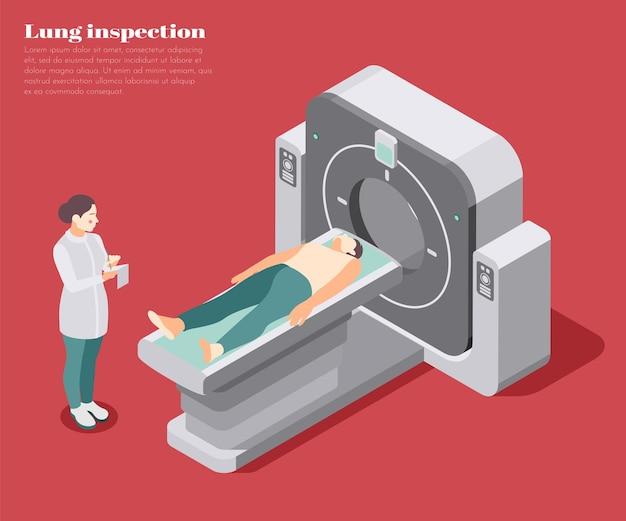 Poster di ispezione polmonare con illustrazione isometrica di simboli di scansione diagnostica