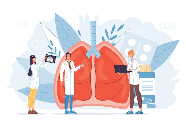 Осмотр легких. диагностика пульмонологических заболеваний. фиброз, туберкулез, пневмония, лечение рака. крошечная бригада врачей в униформе проводит рентгеновское сканирование, обследование, лечит больной внутренний орган