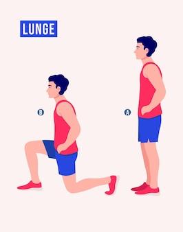Выпады упражнения мужчины тренировки фитнес аэробика и упражнения