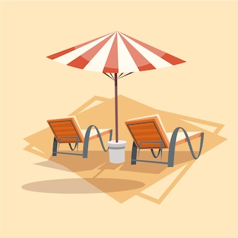 Lungers under umbrella icon summer sea vacation concept summertime holiday