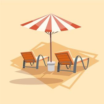 Шезлонги под иконой зонтика летние каникулы на море концепция летнего отдыха
