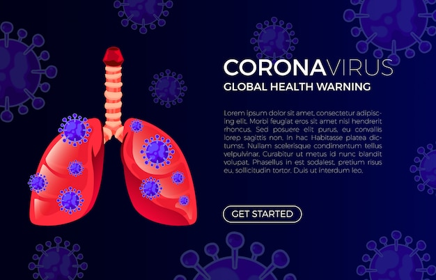The lungs are infected by virus. premium vector