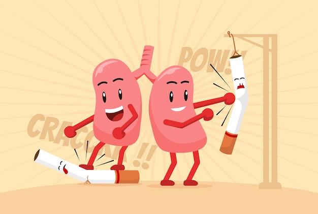 肺の漫画はタバコを打つ