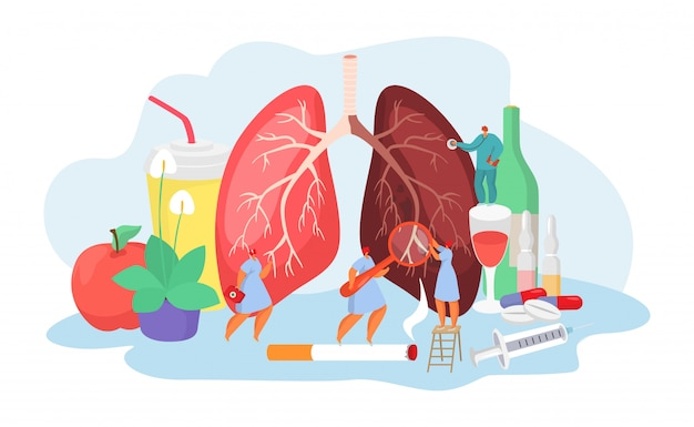 Lungs desease with doctors medical concept of pneumania illness diagnosis and treatment  illustration.