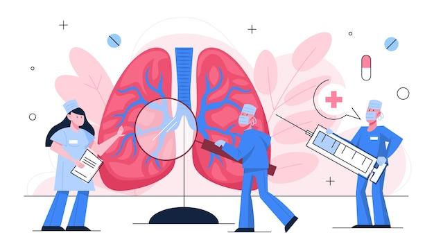 폐 검사 개념. 큰 폐에 서있는 의사. 건강과 치료에 대한 아이디어. 의사는기도를 확인합니다. 호흡기 질환. 건강 관리에 대한 아이디어. 삽화