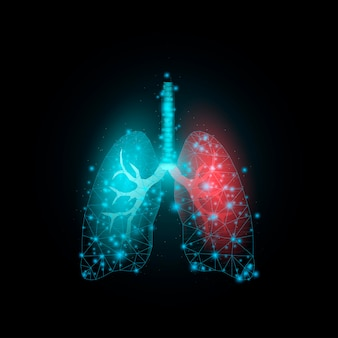 Lungs, glowing low poly. futuristic modern abstract. isolated on dark background. vector illustration.