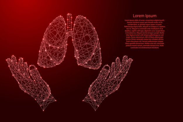 Lungs human organ and two holding, protecting hands from futuristic polygonal red lines