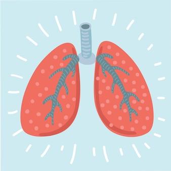 폐 아이콘, 평면 스타일. 인간의 디자인 요소, 로고의 내부 장기. 해부학, 의학 개념. 보건 의료. 흰색 배경에 고립. 삽화