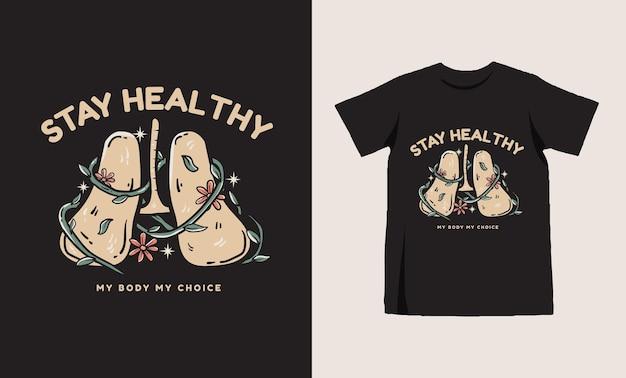 花柄のtシャツのデザインと肺のイラスト