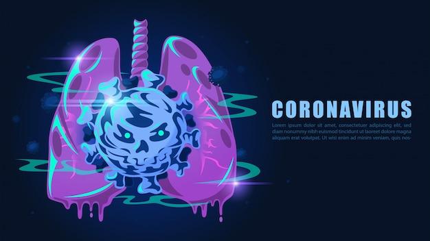 ウイルスに感染した肺