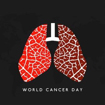 黒の背景に、肺、世界がんの日