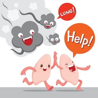 肺が煙、漫画のキャラクター、人間の内臓から逃げる