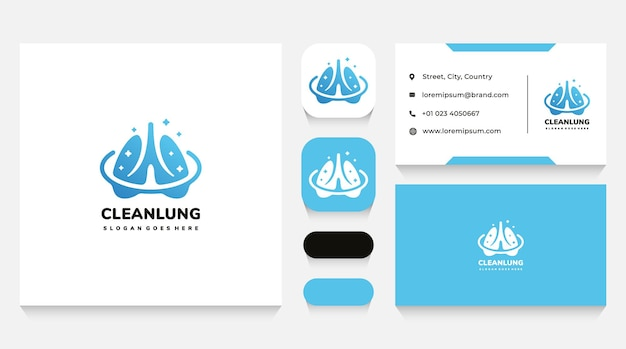 Lungs safety and cleaning logo template and business card
