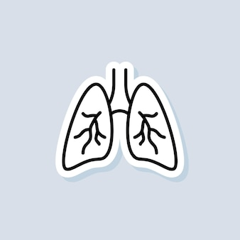 Lungs sticker. healthy lungs icon. health care concept. vector on isolated background. eps 10.