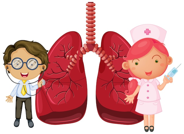 Lungs with a doctor and a nurse cartoon character