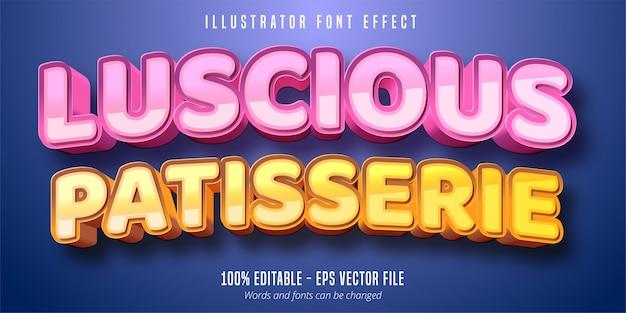 아름다운 제과점 텍스트, 3d 생과자 스타일 편집 가능한 글꼴 효과