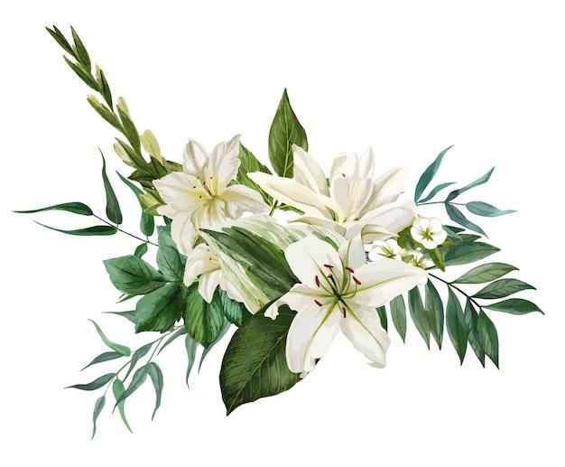 흰 꽃과 녹지로 구성된 무성한 꽃다발