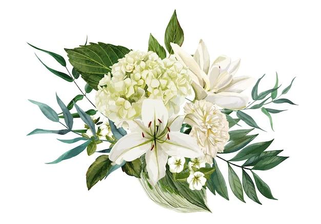 白い花と緑で構成された緑豊かな花束