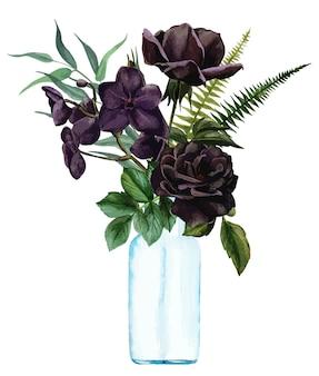 花瓶の手描きのベクトルで緑豊かな花の花束