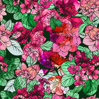 Пышные цветы, нарисованные спиртовой тушью на темном фоне