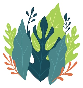 葉や葉の緑豊かな緑、孤立した植物相、エキゾチックな熱帯植物や植物学。咲き乱れる繊細なブーケ、エレガントなデコレーション、ホリデープレゼント。フラットスタイルのベクトル