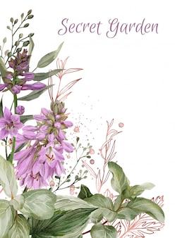 Пышные цветы хосты, ветки малины и розовое золото
