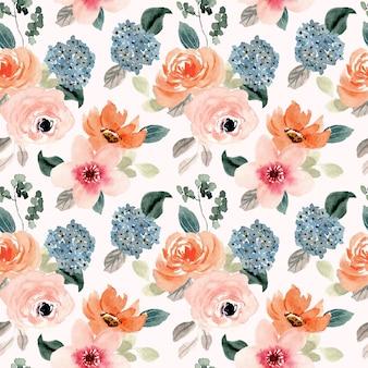 무성 한 복숭아 블루 꽃 수채화 원활한 패턴