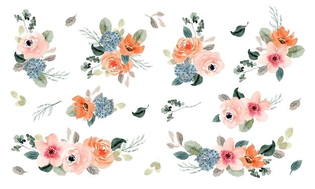 무성한 복숭아 꽃꽂이 수채화 컬렉션