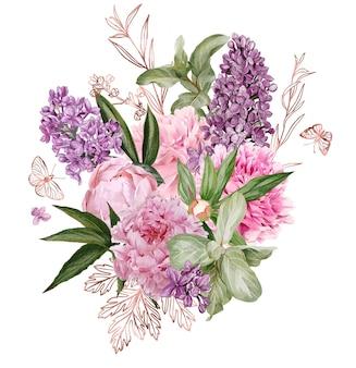 ローズゴールドの花の要素を持つ緑豊かな牡丹とアイラックの花束