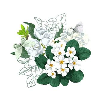 白い花と蝶と緑豊かな春の花束。手描きの水彩イラスト。